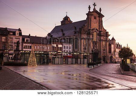 Rainy morning on Veemarkt in Mechelen. Mechelen Flemish Region Belgium