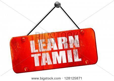 learn tamil, 3D rendering, vintage old red sign