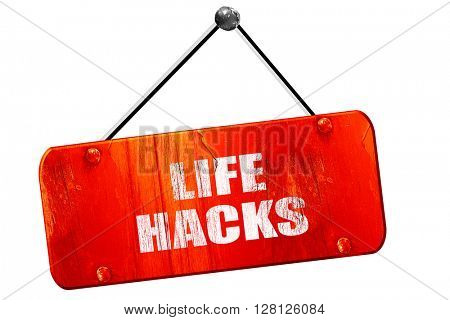 life hacks, 3D rendering, vintage old red sign