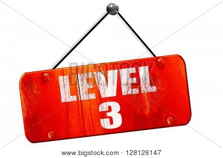 level 3, 3D rendering, vintage old red sign