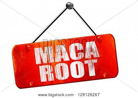 maca root, 3D rendering, vintage old red sign
