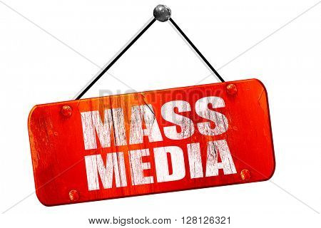 mass media, 3D rendering, vintage old red sign