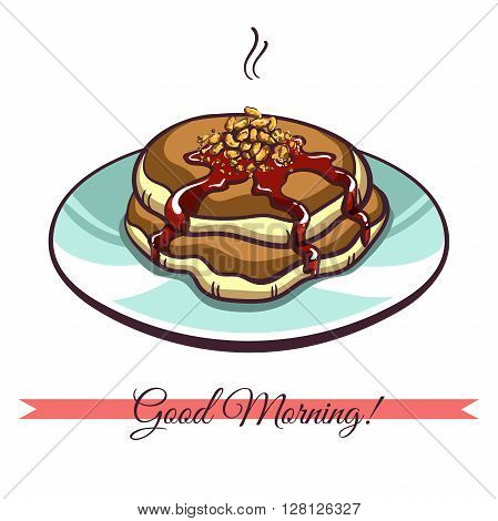 Hand drawn pancakes with nuts and jam on a plate. Pancakes in cartoon style isolated on white background. Vector illustration.