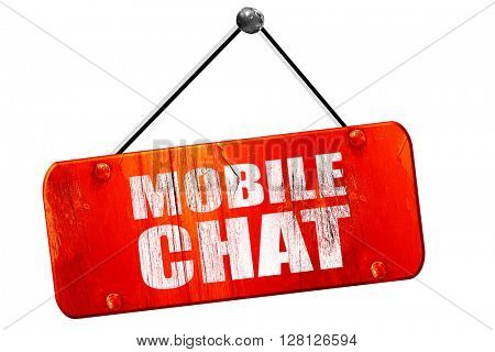 mobile chat, 3D rendering, vintage old red sign