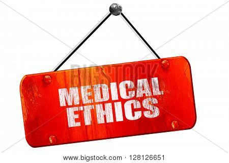 medical ethics, 3D rendering, vintage old red sign