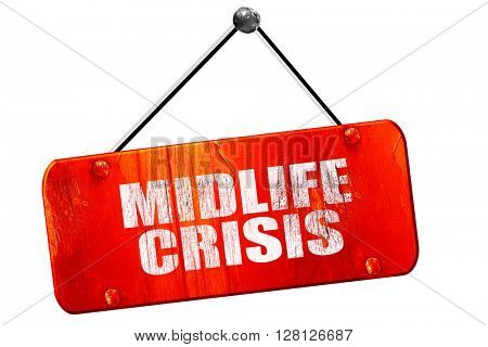 midlife crisis, 3D rendering, vintage old red sign