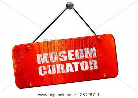 museum curator, 3D rendering, vintage old red sign