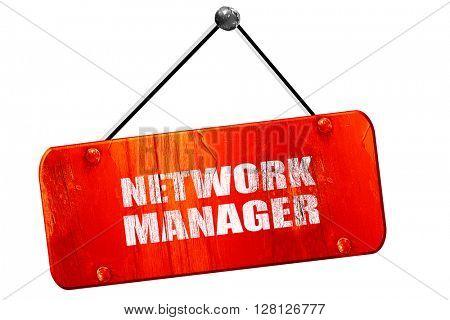 network manager, 3D rendering, vintage old red sign