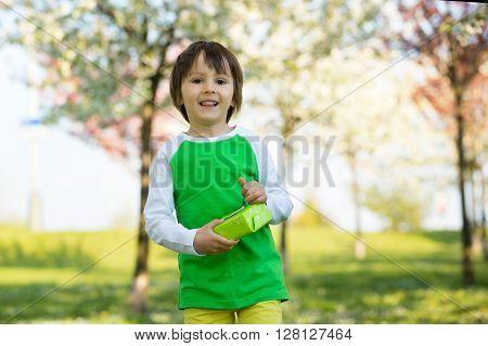 Happy Sweet Preschool Children, Celebrating Fifth Birthday Of Cute Boy