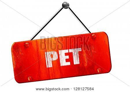 pet, 3D rendering, vintage old red sign
