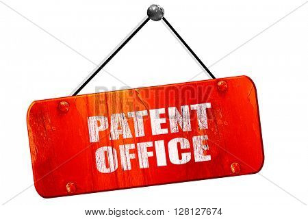 patent office, 3D rendering, vintage old red sign