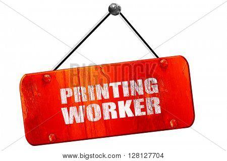 printing worker, 3D rendering, vintage old red sign