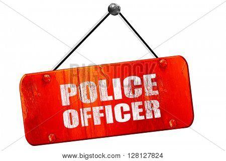 police officer, 3D rendering, vintage old red sign