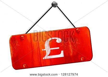 pound sign, 3D rendering, vintage old red sign