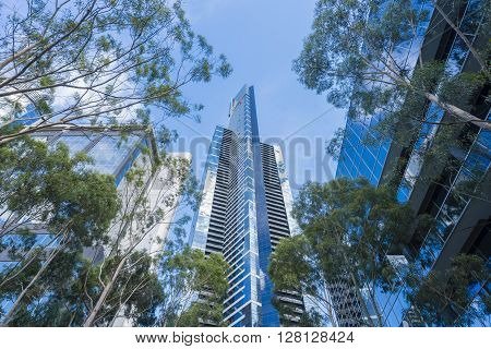 Melbourne, Australia - Mar 17, 2016: View of Eureka Tower, an iconic building in Melbourne. It is the tallest building in Australia.