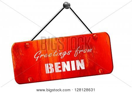 Greetings from benin, 3D rendering, vintage old red sign
