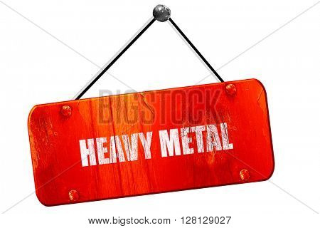 heavy metal music, 3D rendering, vintage old red sign