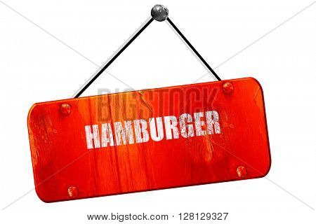 Delicious hamburger sign, 3D rendering, vintage old red sign