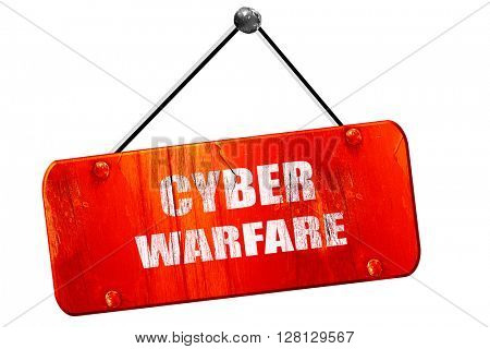 Cyber warfare , 3D rendering, vintage old red sign