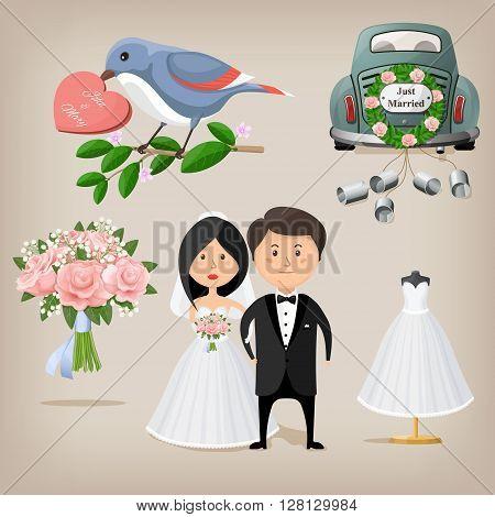 Wedding cartoon set, bride and groom. Vector illustration. EPS10