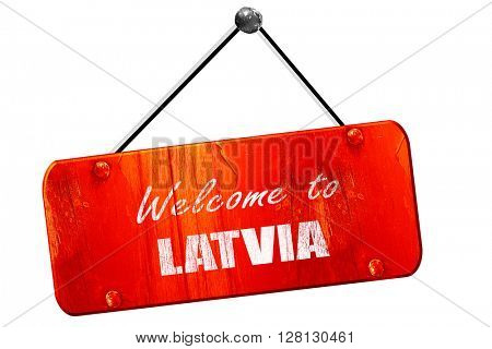 Welcome to latvia, 3D rendering, vintage old red sign