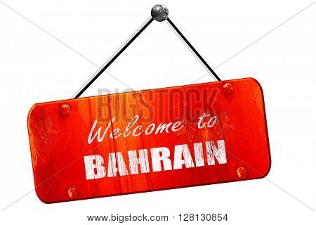 Welcome to bahrain, 3D rendering, vintage old red sign
