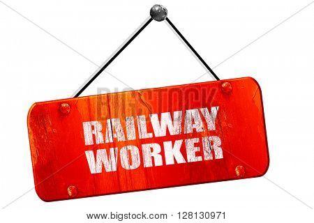 railway worker, 3D rendering, vintage old red sign