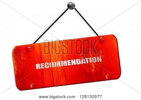 recommendation, 3D rendering, vintage old red sign