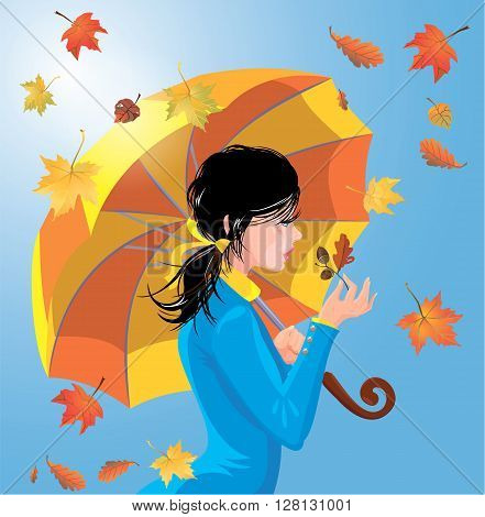 Girl with umbrella on blue sky background with leaves autumn season.