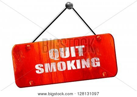 quit smoking, 3D rendering, vintage old red sign