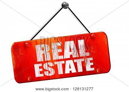 real estate, 3D rendering, vintage old red sign