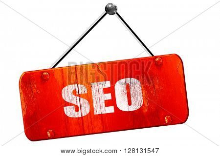 Search engine optimalization, 3D rendering, vintage old red sign