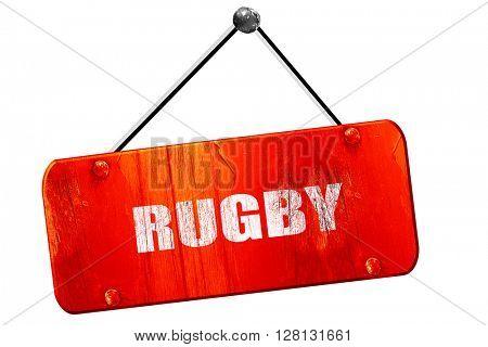rugby, 3D rendering, vintage old red sign