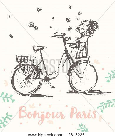 Hand drawn cute vintage bicycle with flying flowers, Bonjour Paris, vector illustration