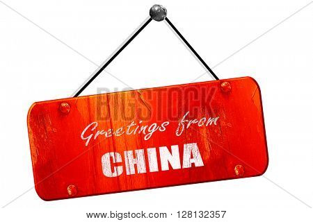 Greetings from china, 3D rendering, vintage old red sign