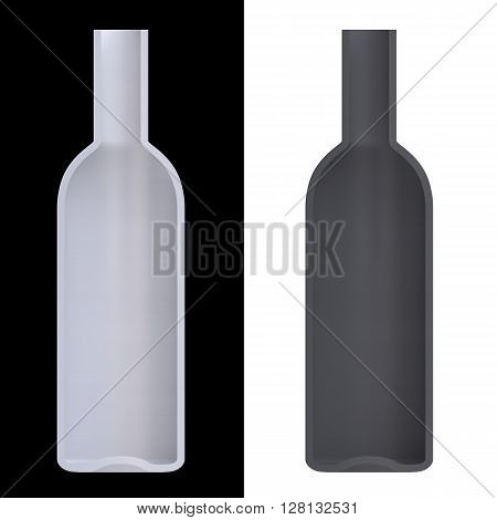 Shape empty cocktail bottle in cut on clean background. Half bottle of front side view. Template for display cocktails and drinks. 3D Rendering.