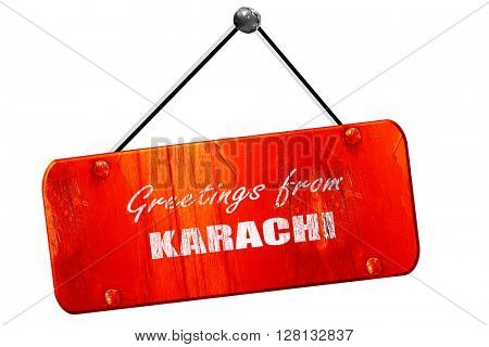Greetings from karachi, 3D rendering, vintage old red sign