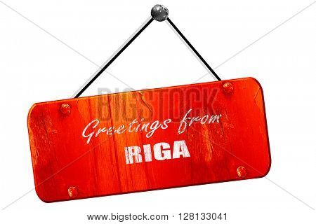 Greetings from riga, 3D rendering, vintage old red sign