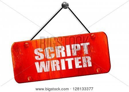 script writer, 3D rendering, vintage old red sign