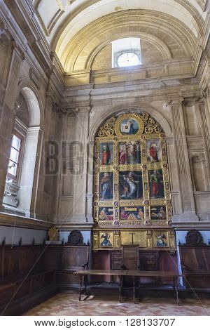 JAEN SPAIN - may 2016 2: Chapter hall also called Chapel of San Pedro de Osma, barrel vault, opposite its entrance has the altarpiece by Pedro Machuca, Take in jaen, Spain