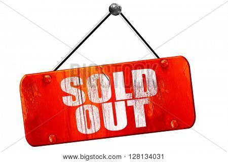 sold out, 3D rendering, vintage old red sign