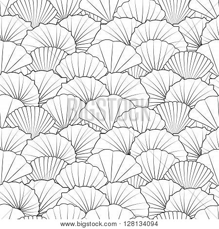 Shells seamless pattern. Black and white shells modern line art. Pattern for coloring book. Vector.