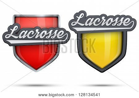 Set of Premium symbols of Lacrosse label and tag. Symbol of sport or club.  Illustration isolated on white background.