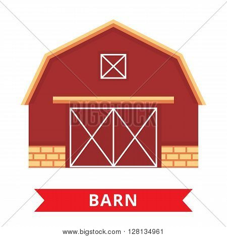 Flat barn icon. Farm barn. Wood house illustration