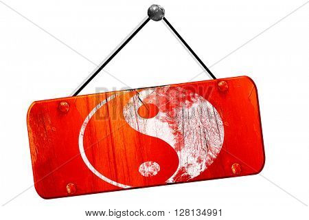 Ying yang symbol, 3D rendering, vintage old red sign