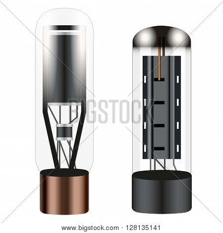 Electronic vacuum tube.  Illustration isolated on white background.