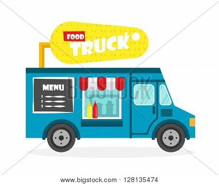 Street food truck vector illustration. Corn van delivery. Flat icon
