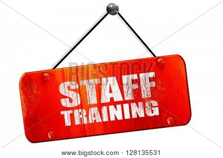 staff training, 3D rendering, vintage old red sign