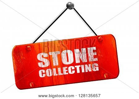 stone collecting, 3D rendering, vintage old red sign
