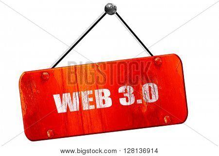 web 3.0, 3D rendering, vintage old red sign